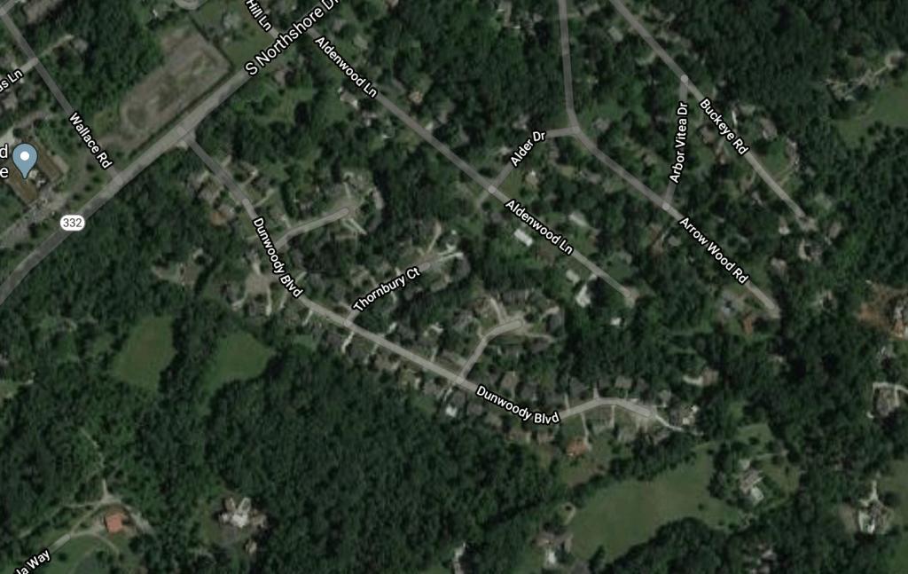 Aerial view of Dunbarton Oaks